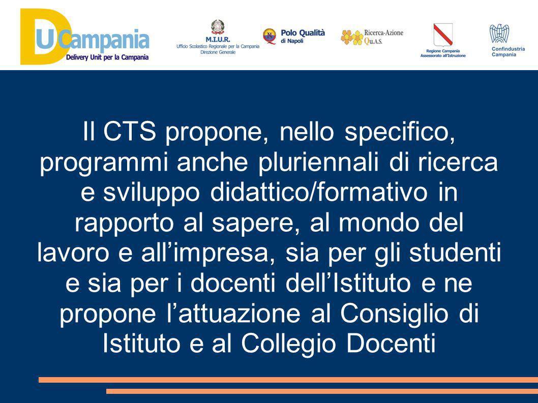Il CTS propone, nello specifico, programmi anche pluriennali di ricerca e sviluppo didattico/formativo in rapporto al sapere, al mondo del lavoro e all'impresa, sia per gli studenti e sia per i docenti dell'Istituto e ne propone l'attuazione al Consiglio di Istituto e al Collegio Docenti