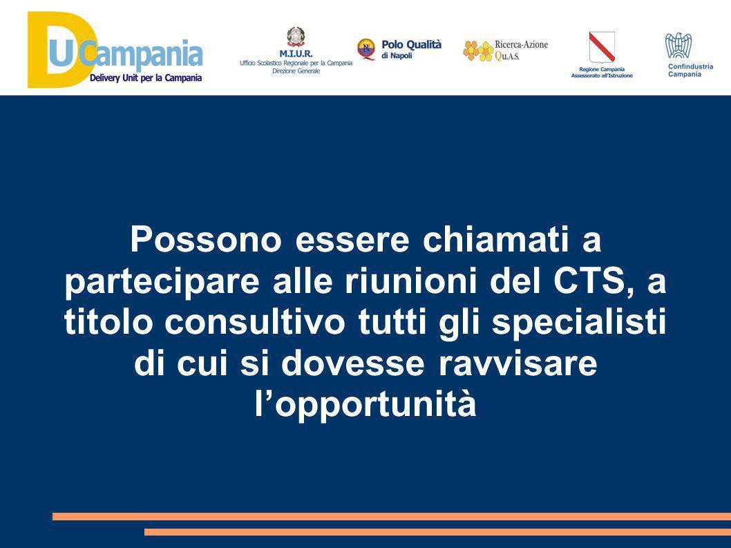 Possono essere chiamati a partecipare alle riunioni del CTS, a titolo consultivo tutti gli specialisti di cui si dovesse ravvisare l'opportunità