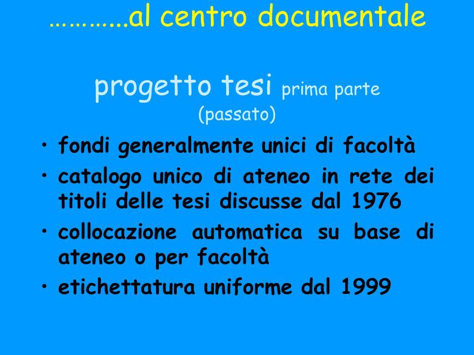 ………...al centro documentale progetto tesi prima parte (passato)