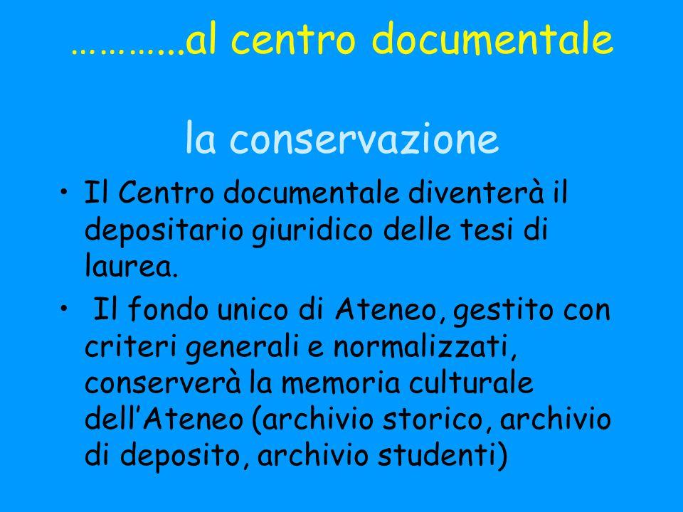 ………...al centro documentale la conservazione