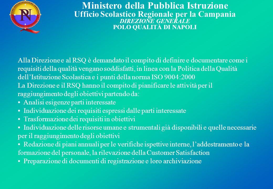 Alla Direzione e al RSQ è demandato il compito di definire e documentare come i requisiti della qualità vengano soddisfatti, in linea con la Politica della Qualità dell'Istituzione Scolastica e i punti della norma ISO 9004:2000
