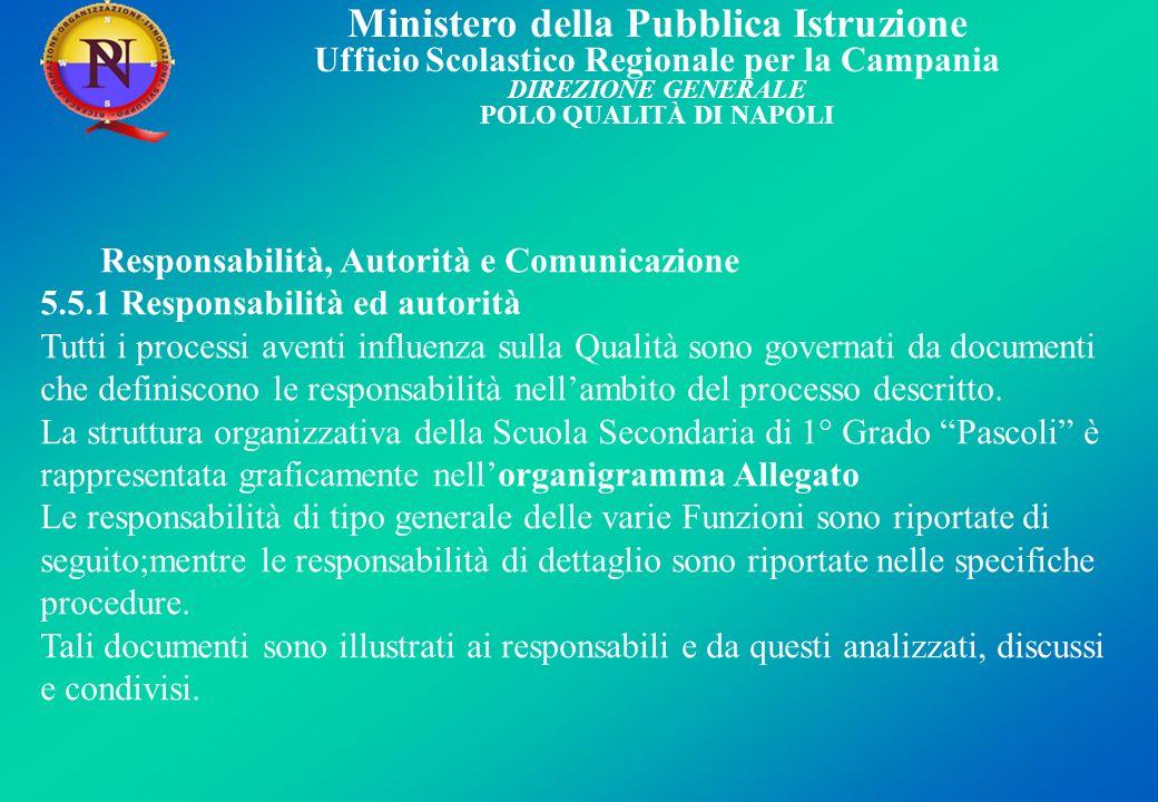 5.5.1 Responsabilità ed autorità