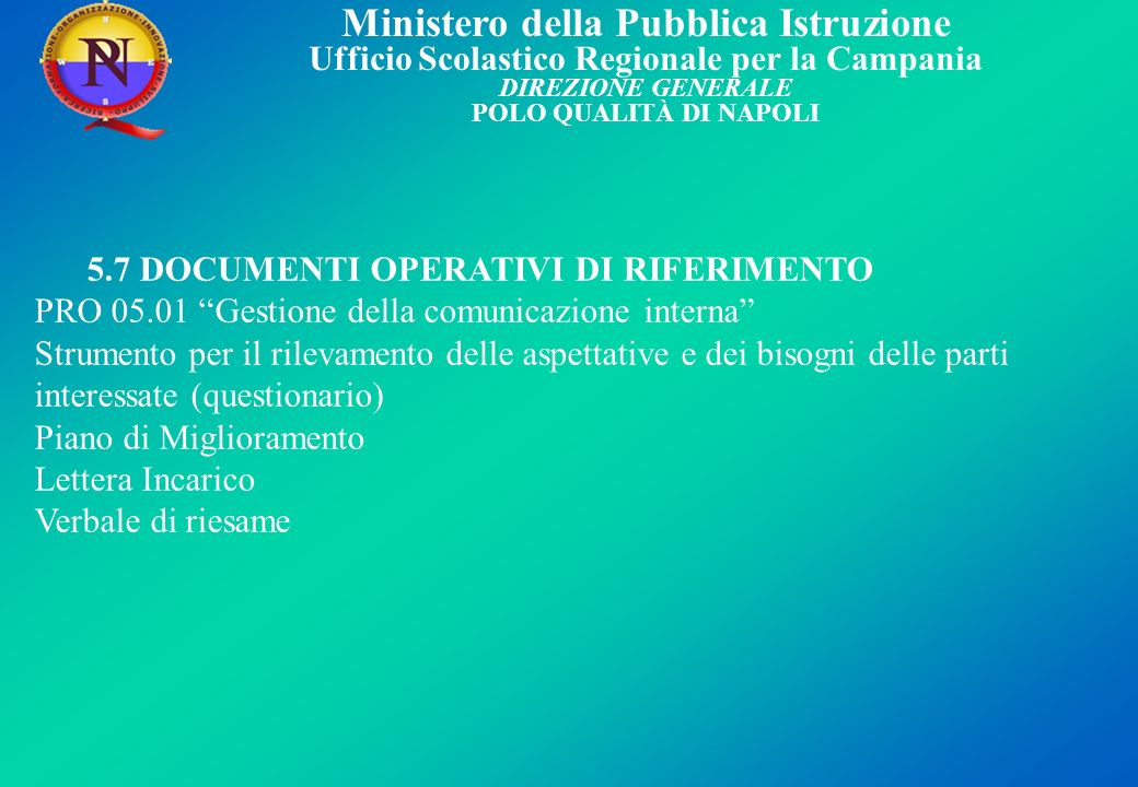 5.7 DOCUMENTI OPERATIVI DI RIFERIMENTO