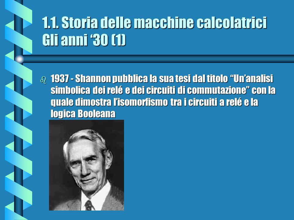 1.1. Storia delle macchine calcolatrici Gli anni '30 (1)