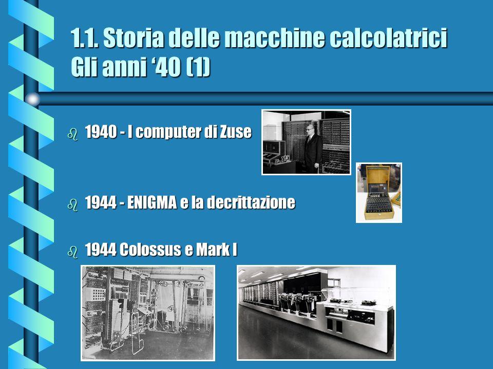 1.1. Storia delle macchine calcolatrici Gli anni '40 (1)