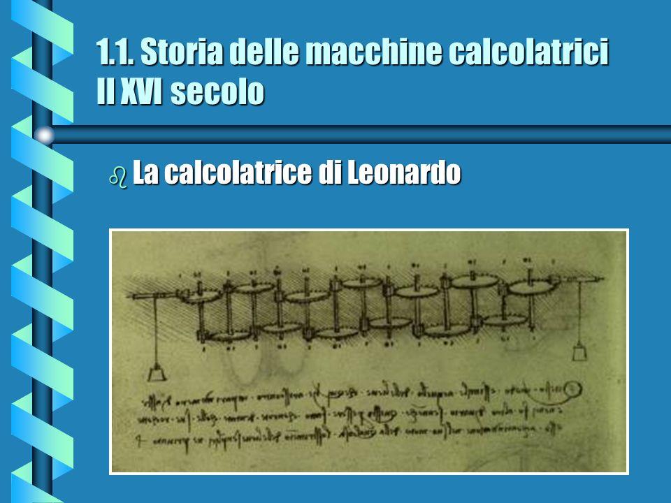 1.1. Storia delle macchine calcolatrici Il XVI secolo