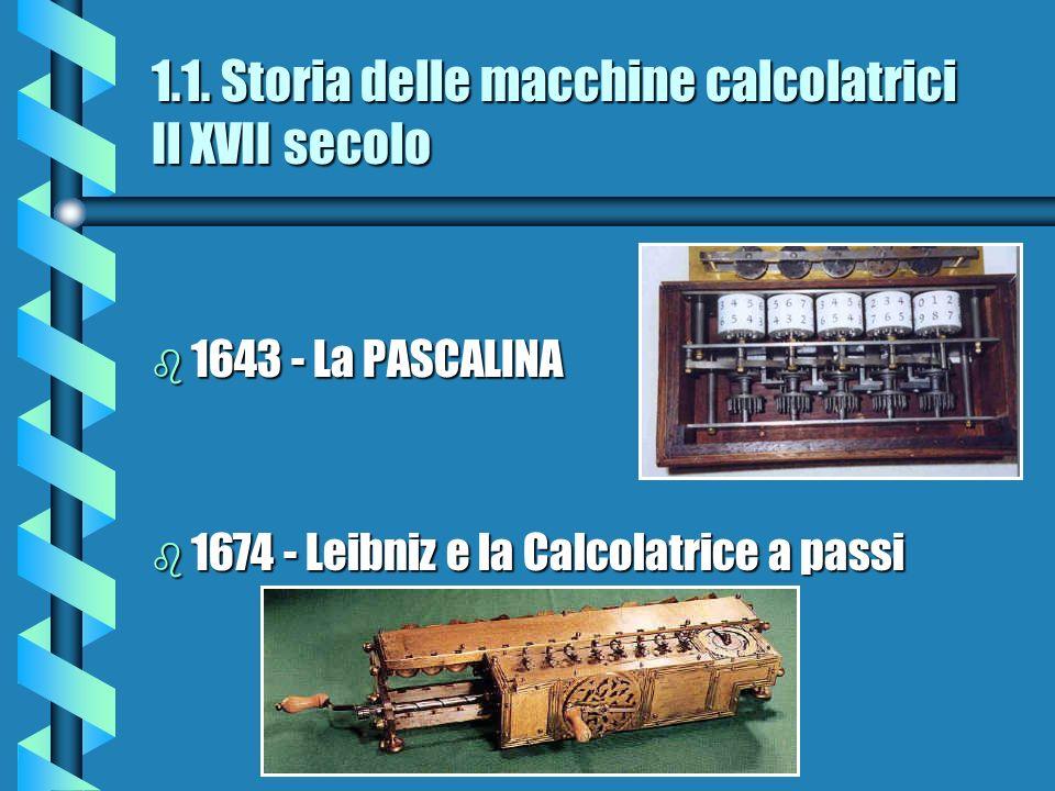 1.1. Storia delle macchine calcolatrici Il XVII secolo