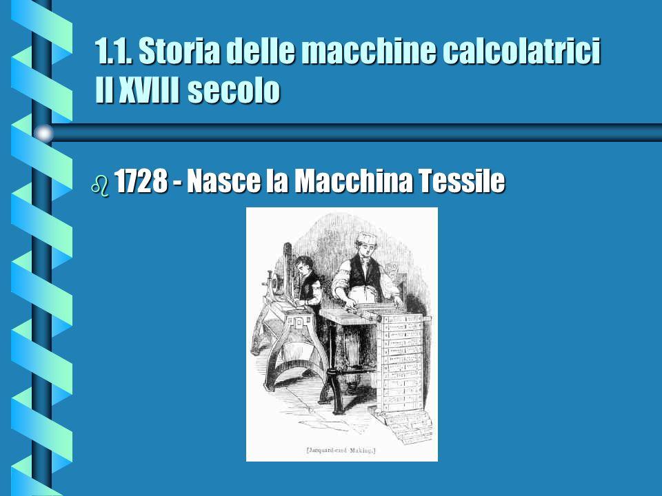 1.1. Storia delle macchine calcolatrici Il XVIII secolo