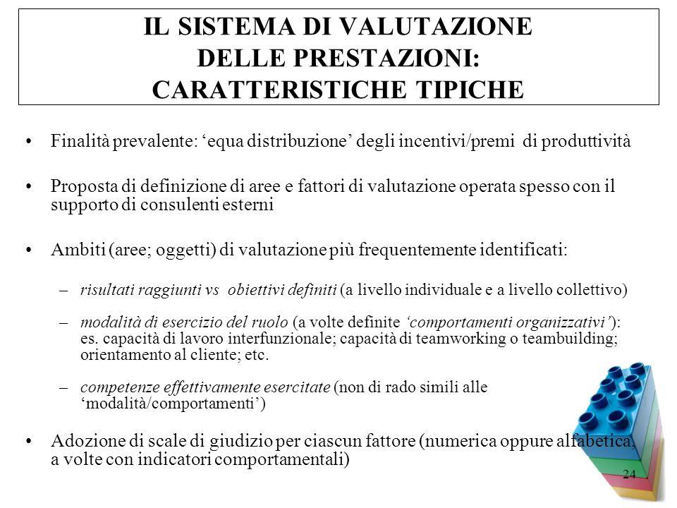 IL SISTEMA DI VALUTAZIONE DELLE PRESTAZIONI: CARATTERISTICHE TIPICHE