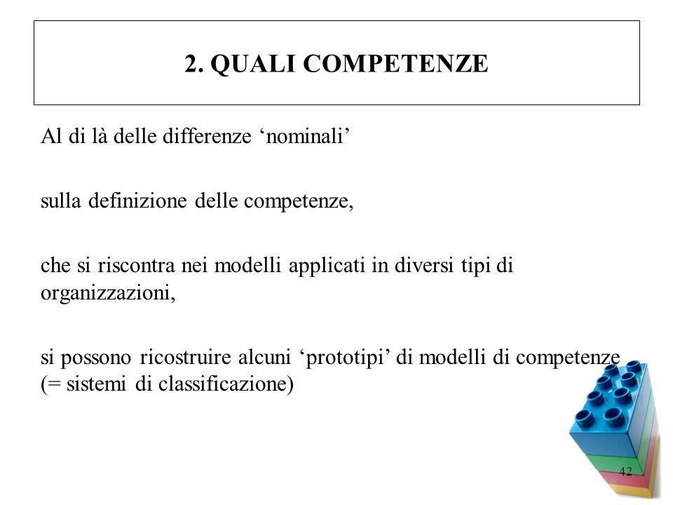 2. QUALI COMPETENZE Al di là delle differenze 'nominali'