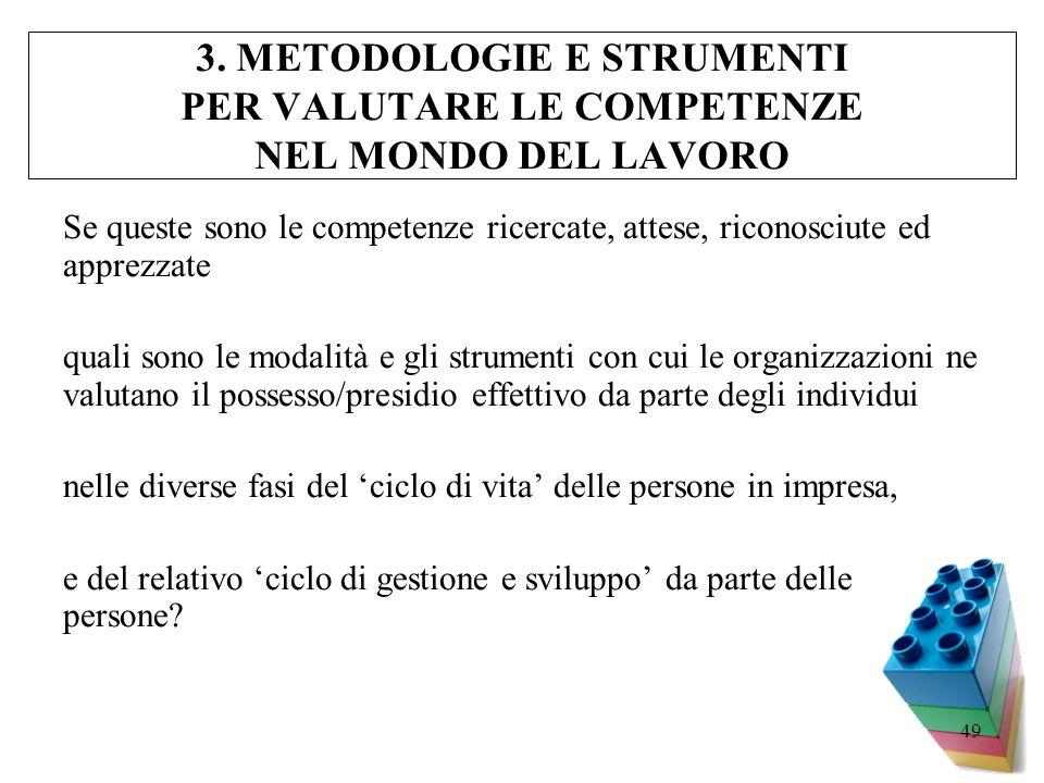 3. METODOLOGIE E STRUMENTI PER VALUTARE LE COMPETENZE NEL MONDO DEL LAVORO