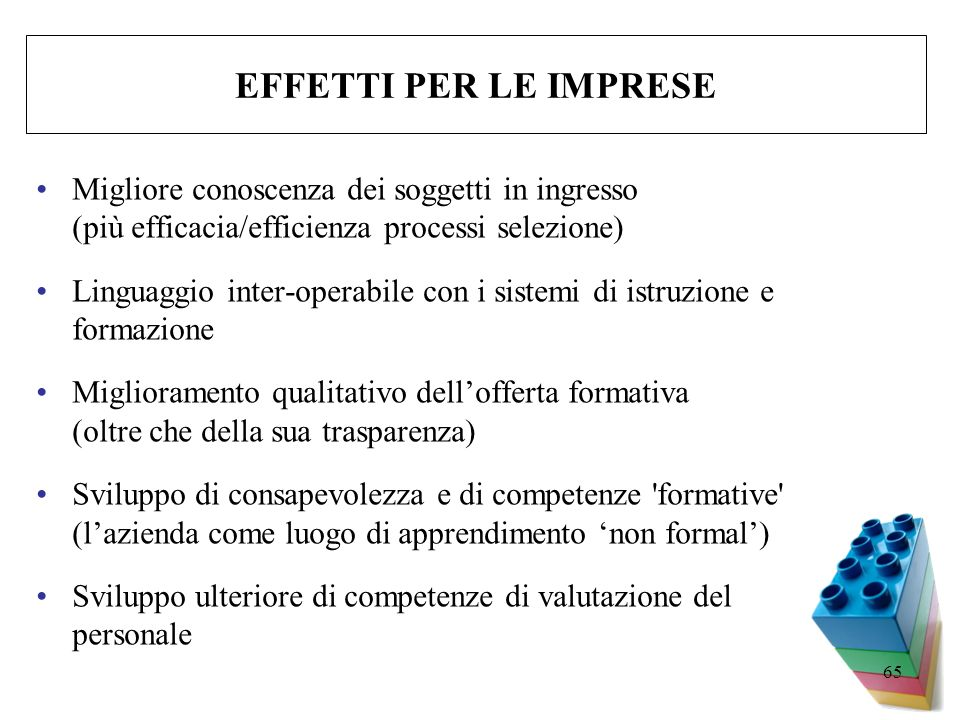 EFFETTI PER LE IMPRESE Migliore conoscenza dei soggetti in ingresso (più efficacia/efficienza processi selezione)