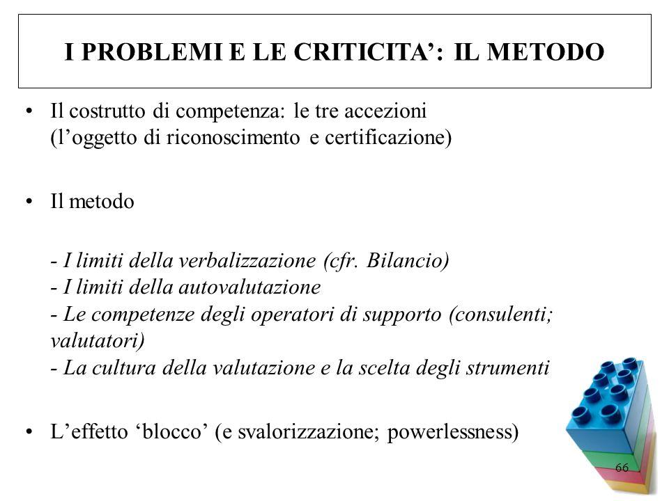 I PROBLEMI E LE CRITICITA': IL METODO