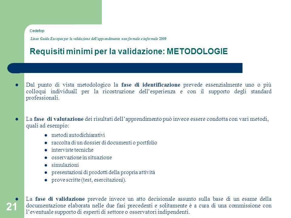 Cedefop Linee Guida Europee per la validazione dell'apprendimento non formale e informale 2009 Requisiti minimi per la validazione: METODOLOGIE