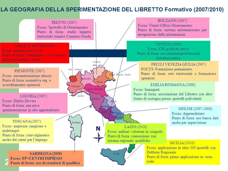 LA GEOGRAFIA DELLA SPERIMENTAZIONE DEL LIBRETTO Formativo (2007/2010)