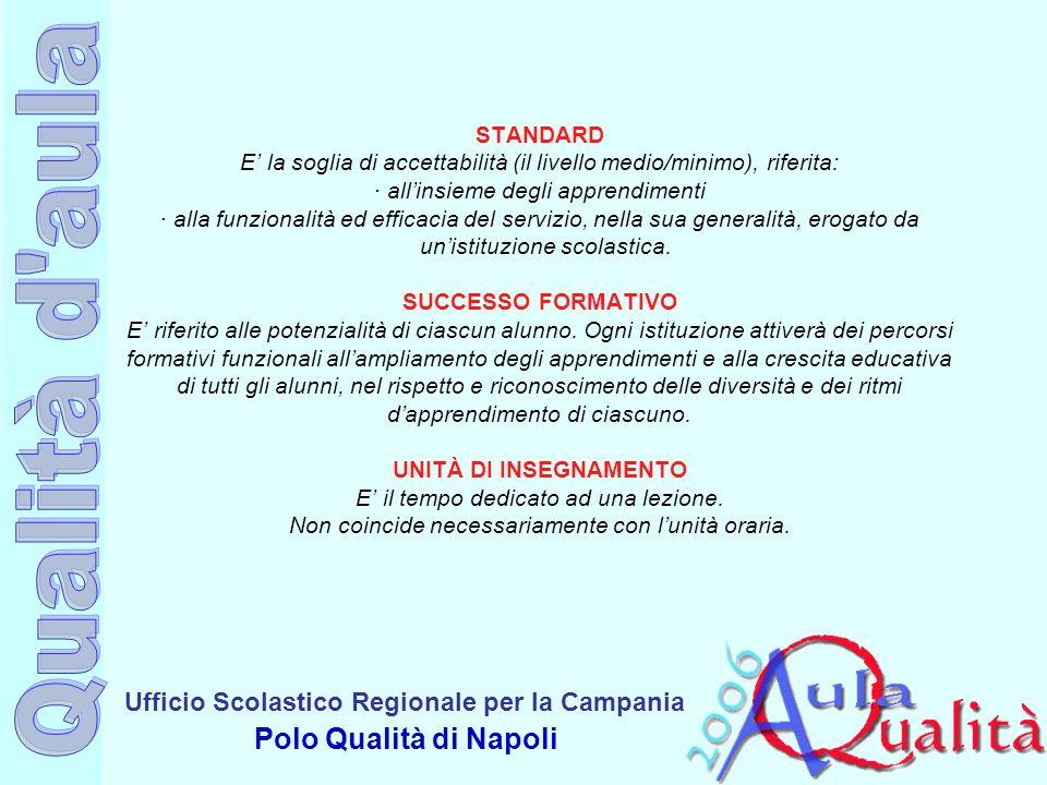 STANDARD E' la soglia di accettabilità (il livello medio/minimo), riferita: · all'insieme degli apprendimenti · alla funzionalità ed efficacia del servizio, nella sua generalità, erogato da un'istituzione scolastica.