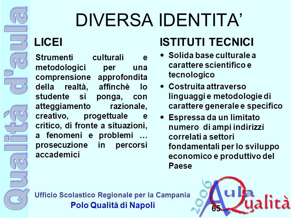 DIVERSA IDENTITA' LICEI ISTITUTI TECNICI