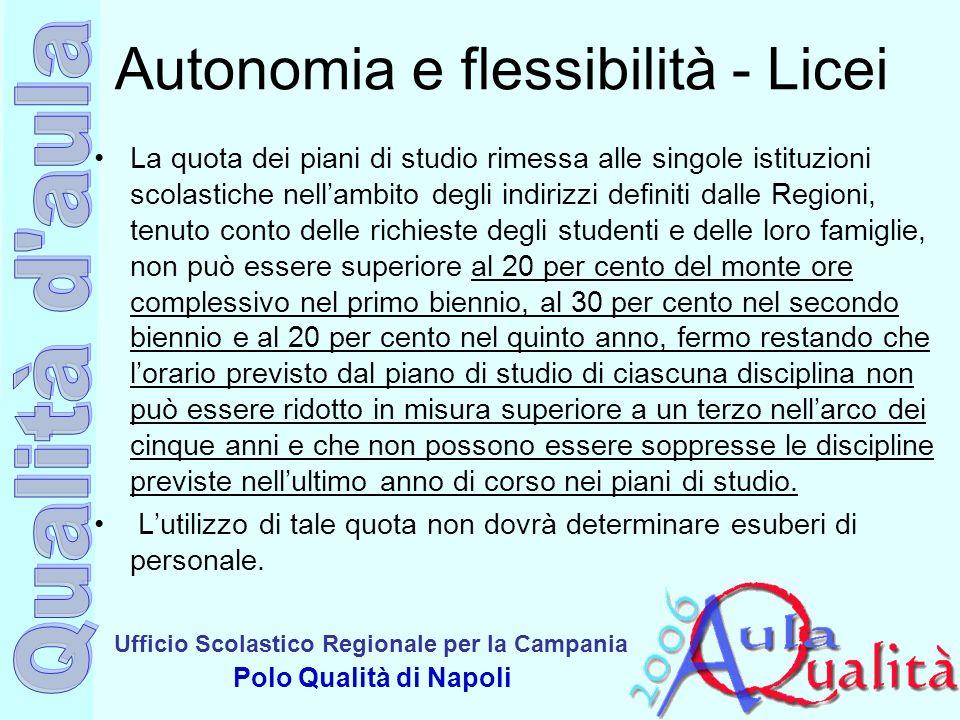 Autonomia e flessibilità - Licei