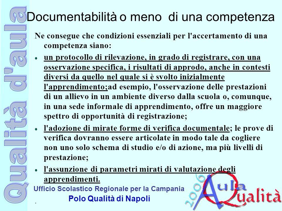 Documentabilità o meno di una competenza