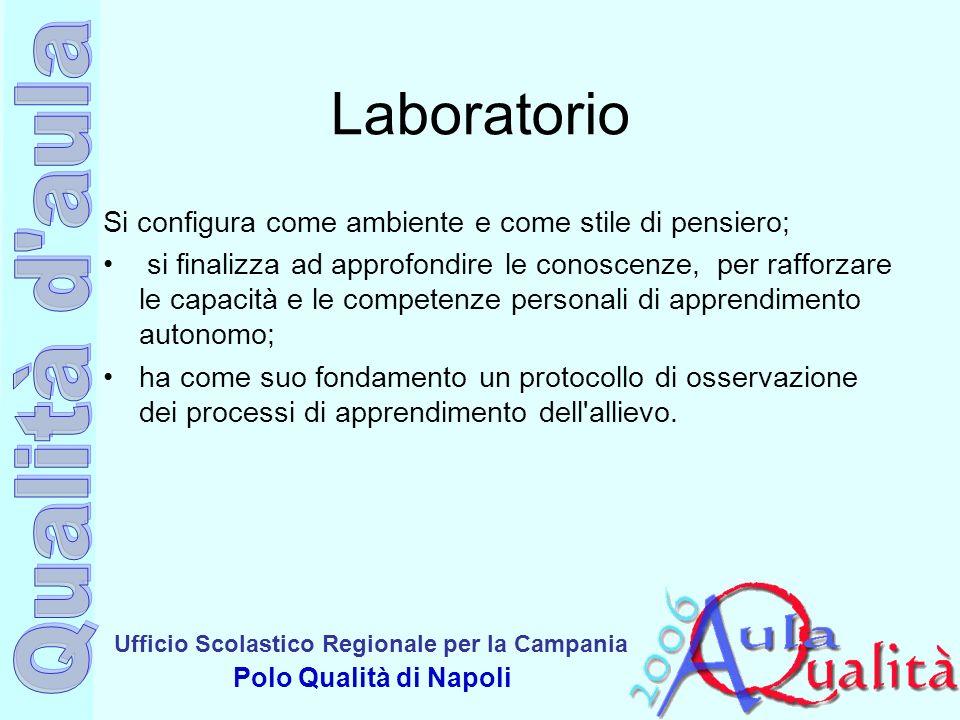 Laboratorio Si configura come ambiente e come stile di pensiero;