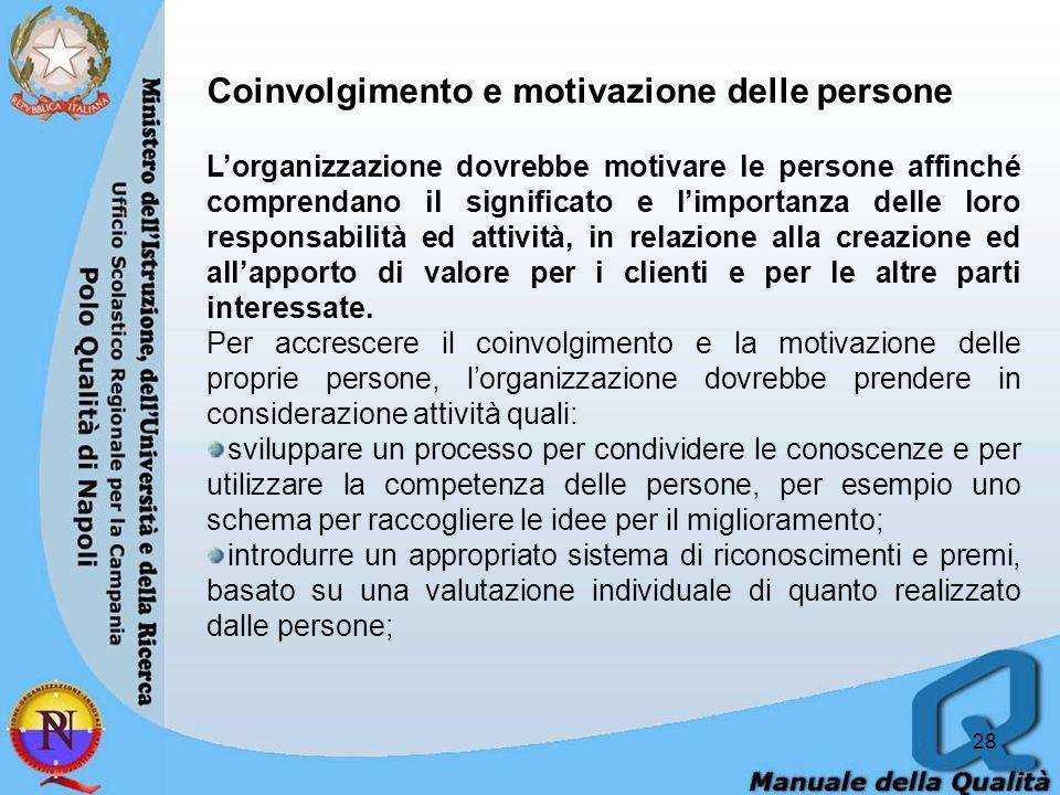 Coinvolgimento e motivazione delle persone