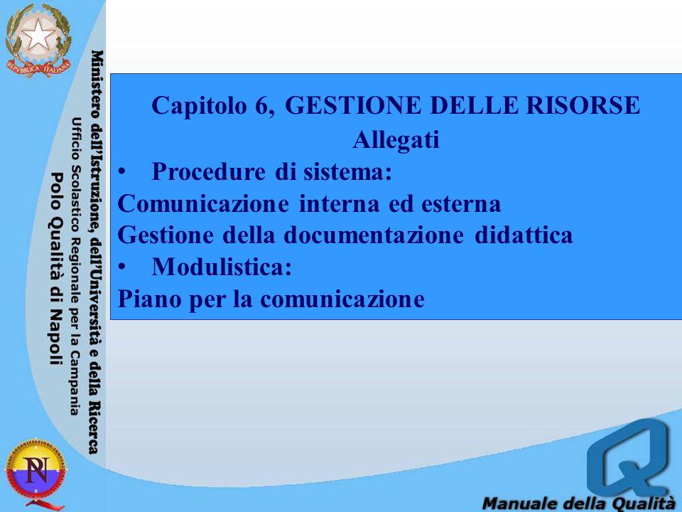 Capitolo 6, GESTIONE DELLE RISORSE