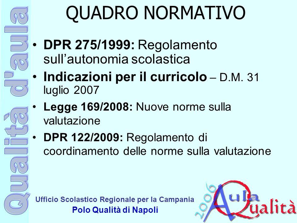 QUADRO NORMATIVO DPR 275/1999: Regolamento sull'autonomia scolastica