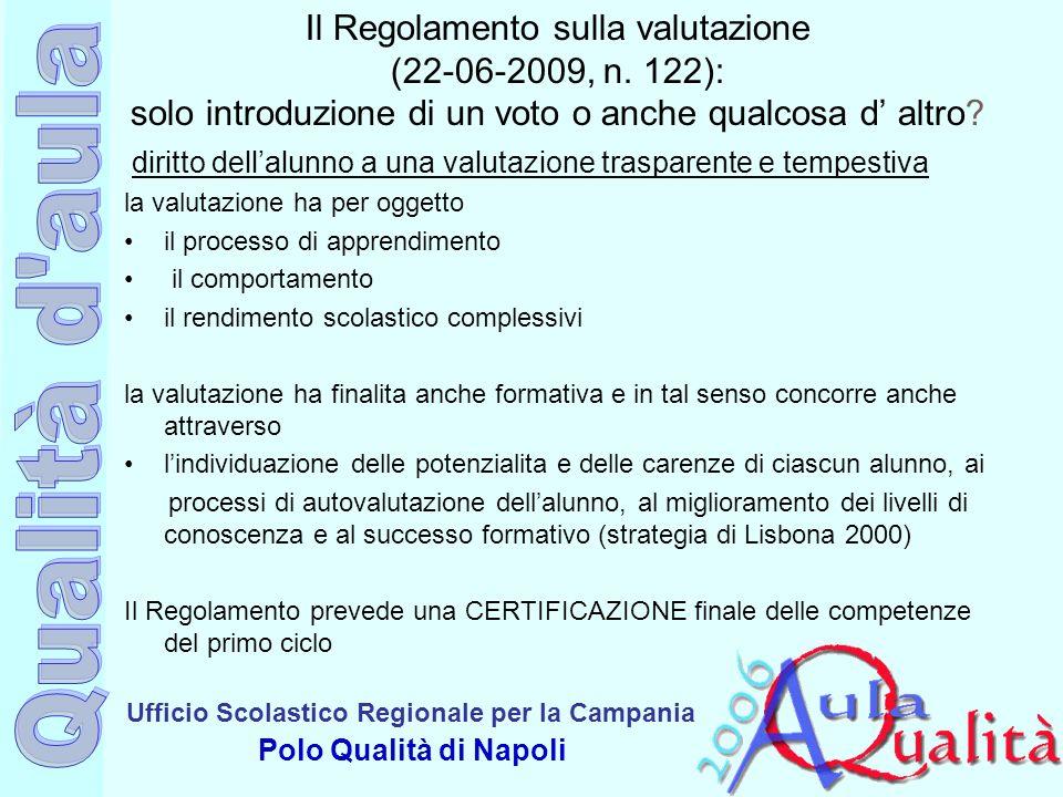 Il Regolamento sulla valutazione (22-06-2009, n
