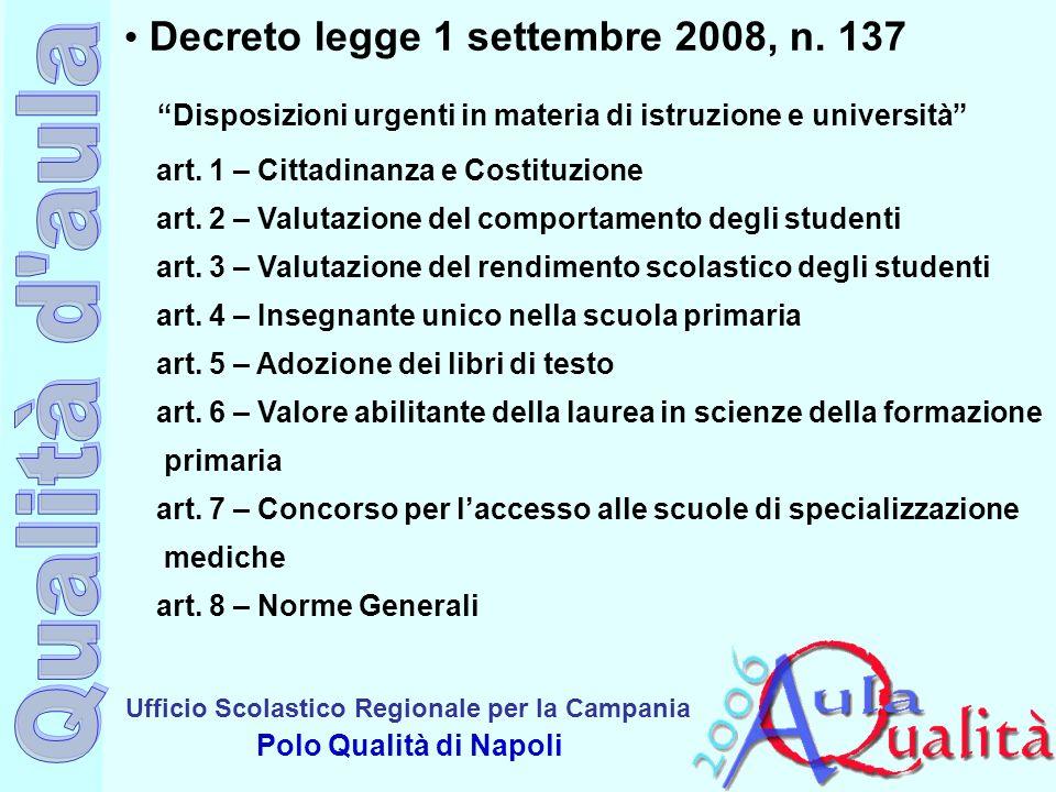 Decreto legge 1 settembre 2008, n. 137