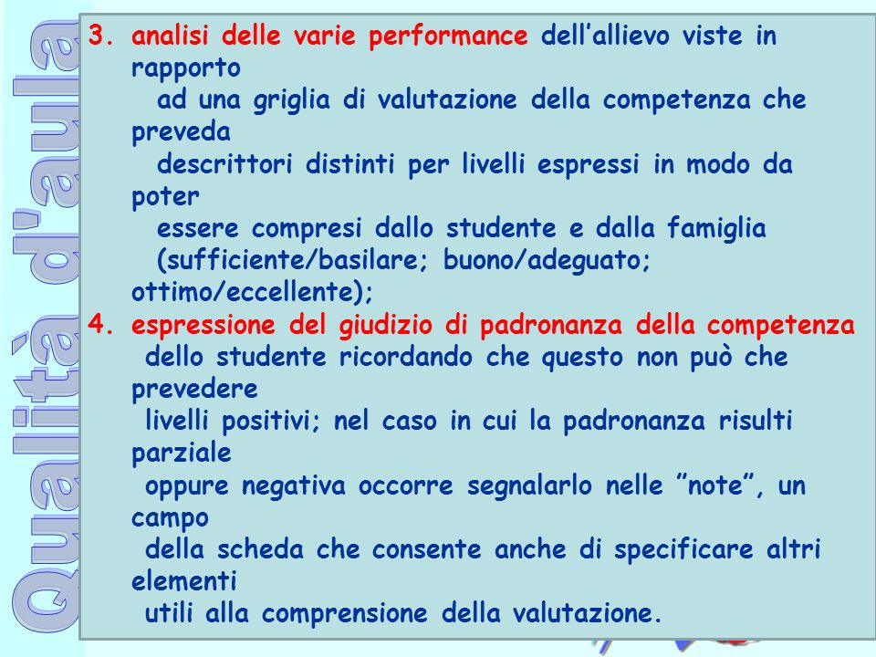 analisi delle varie performance dell'allievo viste in rapporto