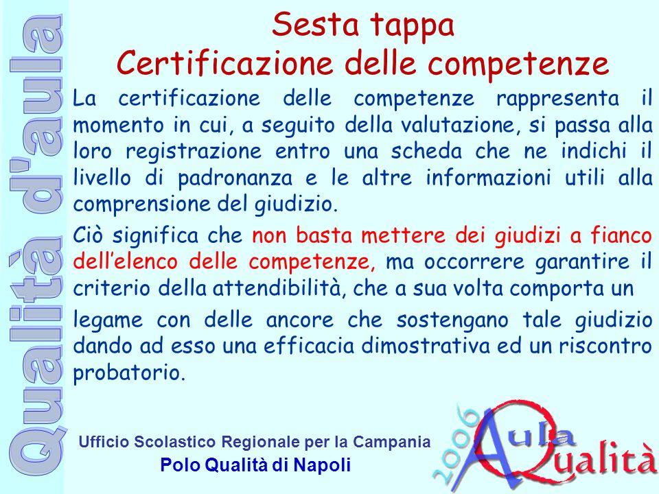 Sesta tappa Certificazione delle competenze