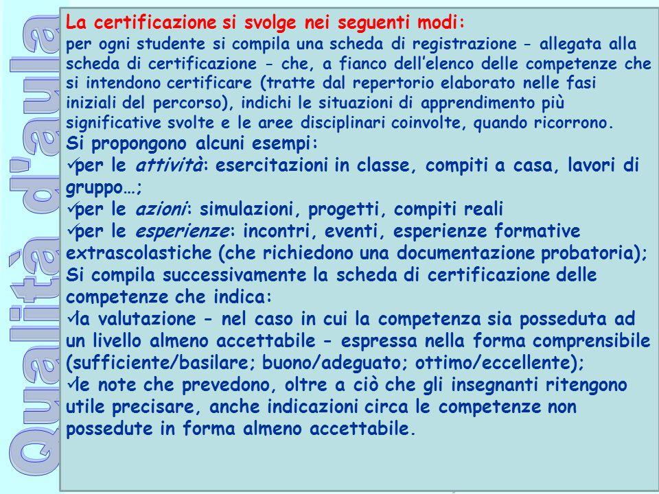 La certificazione si svolge nei seguenti modi: