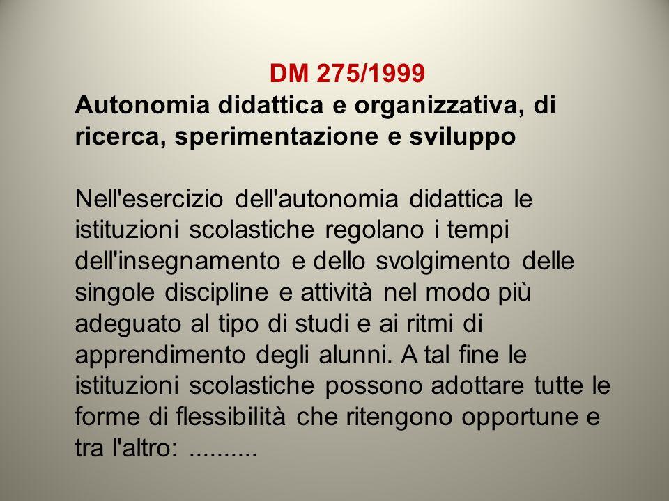 DM 275/1999 Autonomia didattica e organizzativa, di ricerca, sperimentazione e sviluppo.