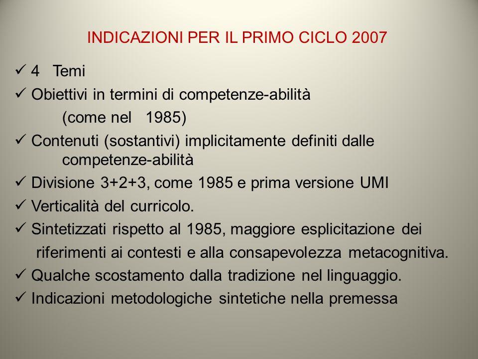 INDICAZIONI PER IL PRIMO CICLO 2007