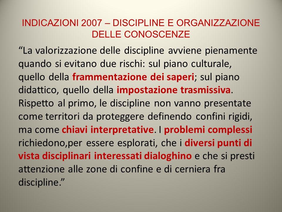 INDICAZIONI 2007 – DISCIPLINE E ORGANIZZAZIONE DELLE CONOSCENZE