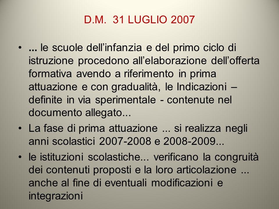 D.M. 31 LUGLIO 2007