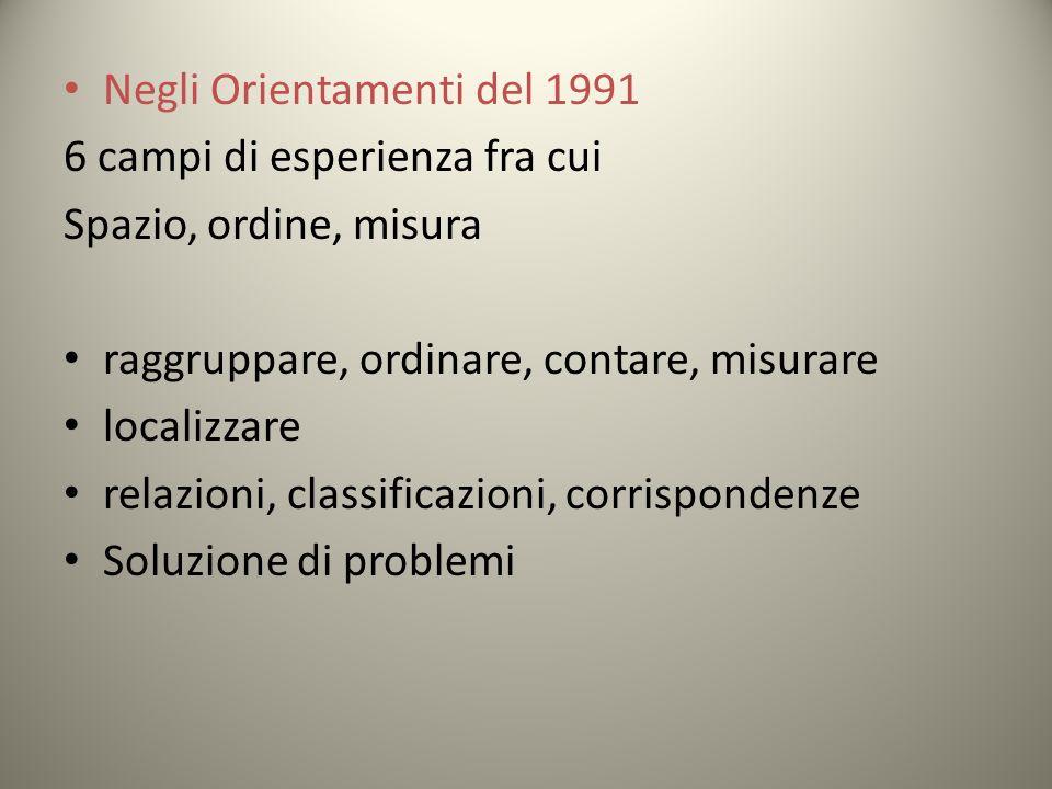Negli Orientamenti del 1991