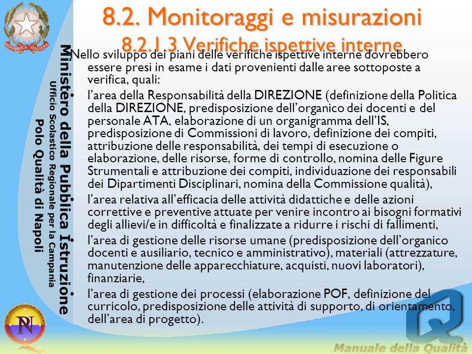 8.2. Monitoraggi e misurazioni 8.2.1.3 Verifiche ispettive interne