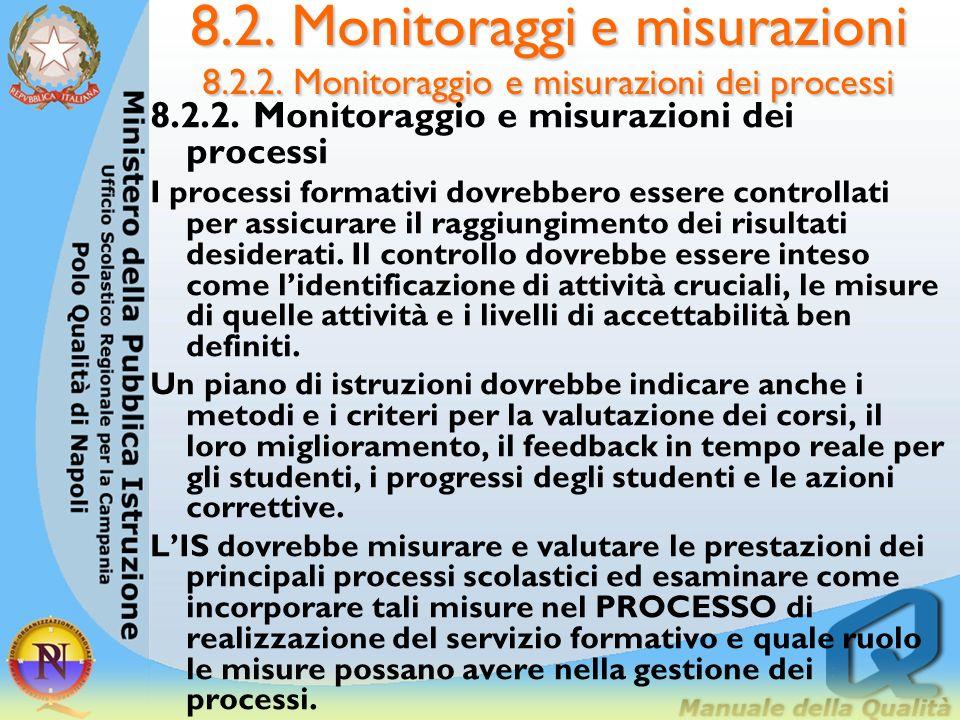 8. 2. Monitoraggi e misurazioni 8. 2. 2