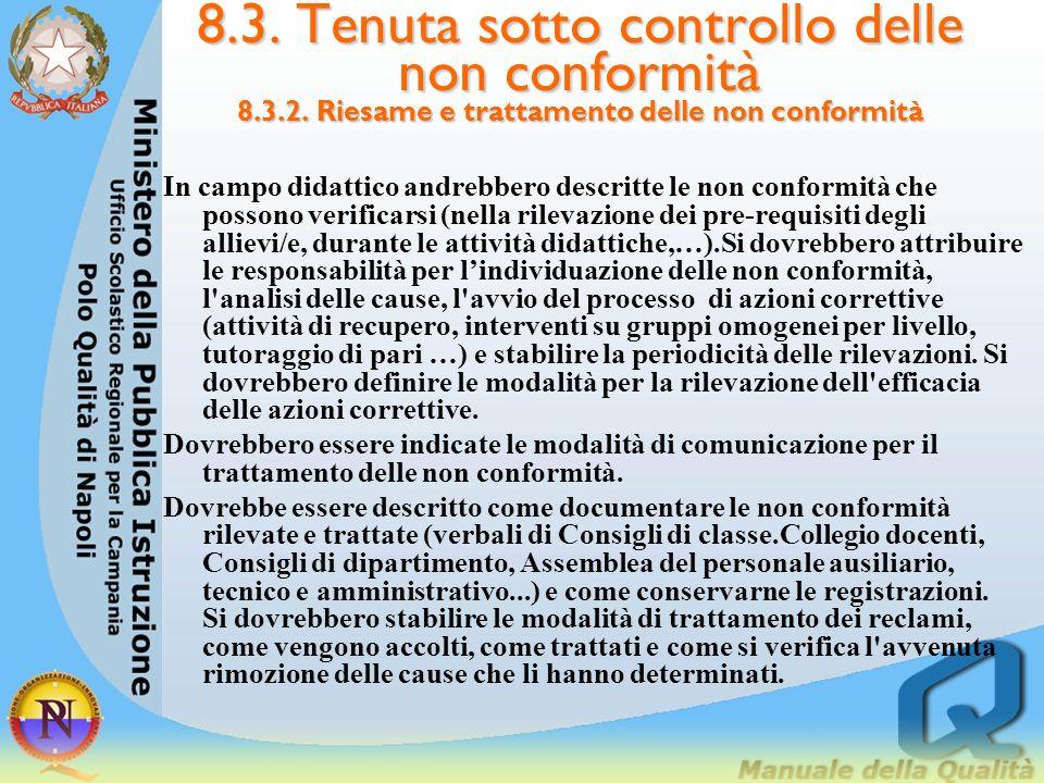 8. 3. Tenuta sotto controllo delle non conformità 8. 3. 2