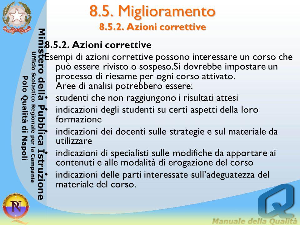 8.5. Miglioramento 8.5.2. Azioni correttive