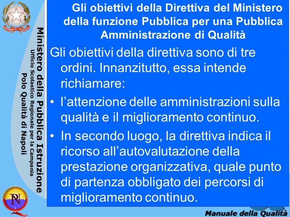 Gli obiettivi della Direttiva del Ministero della funzione Pubblica per una Pubblica Amministrazione di Qualità