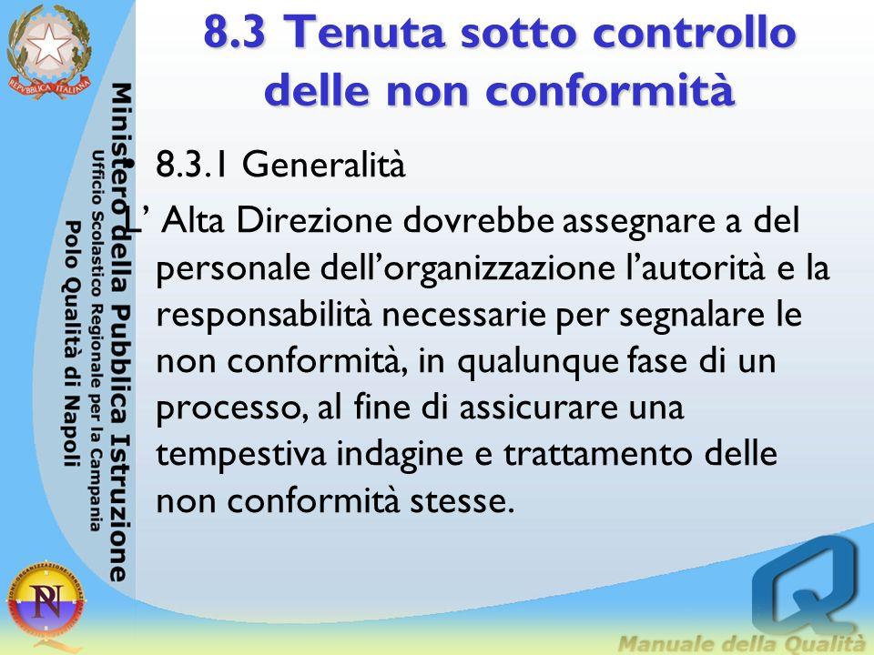 8.3 Tenuta sotto controllo delle non conformità