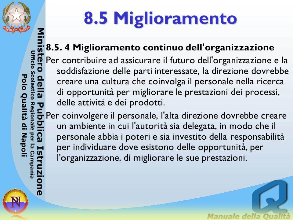 8.5 Miglioramento 8.5. 4 Miglioramento continuo dell organizzazione