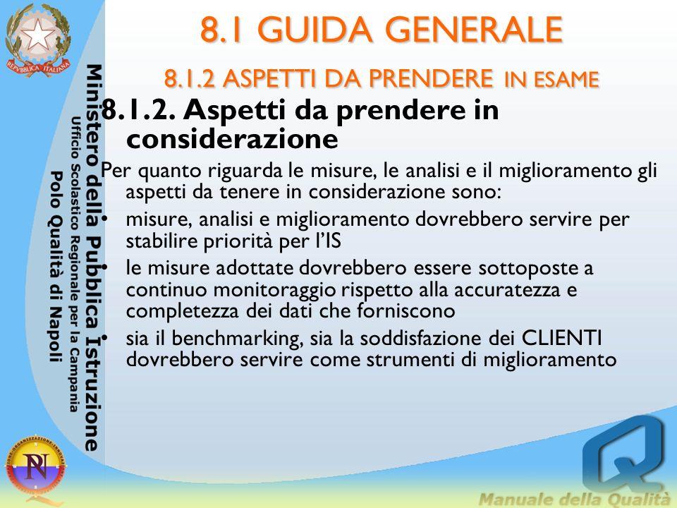 8.1 GUIDA GENERALE 8.1.2 ASPETTI DA PRENDERE IN ESAME