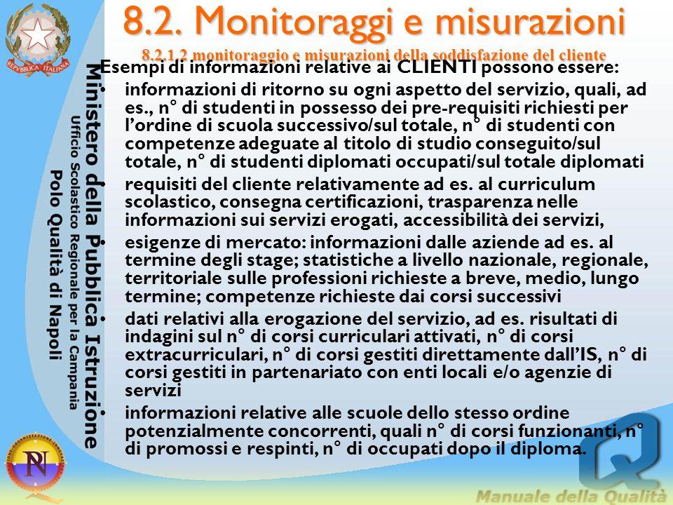 8. 2. Monitoraggi e misurazioni 8. 2. 1