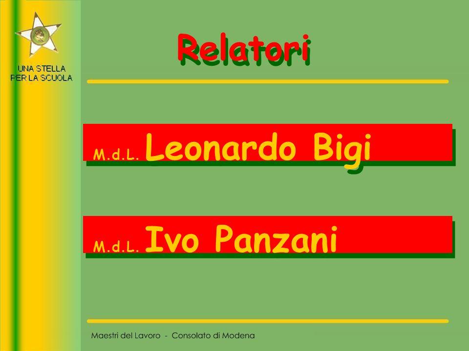 Relatori M.d.L. Leonardo Bigi M.d.L. Ivo Panzani