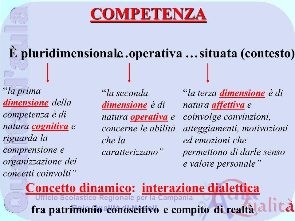 COMPETENZA È pluridimensionale …operativa … situata (contesto)