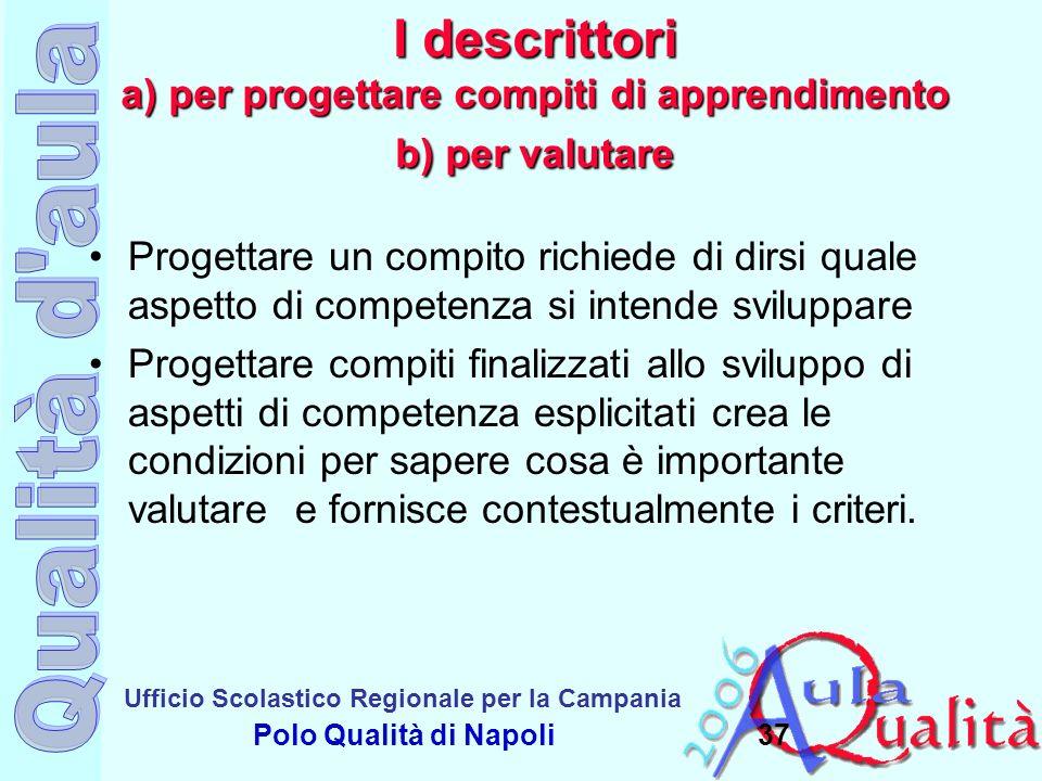 I descrittori a) per progettare compiti di apprendimento b) per valutare
