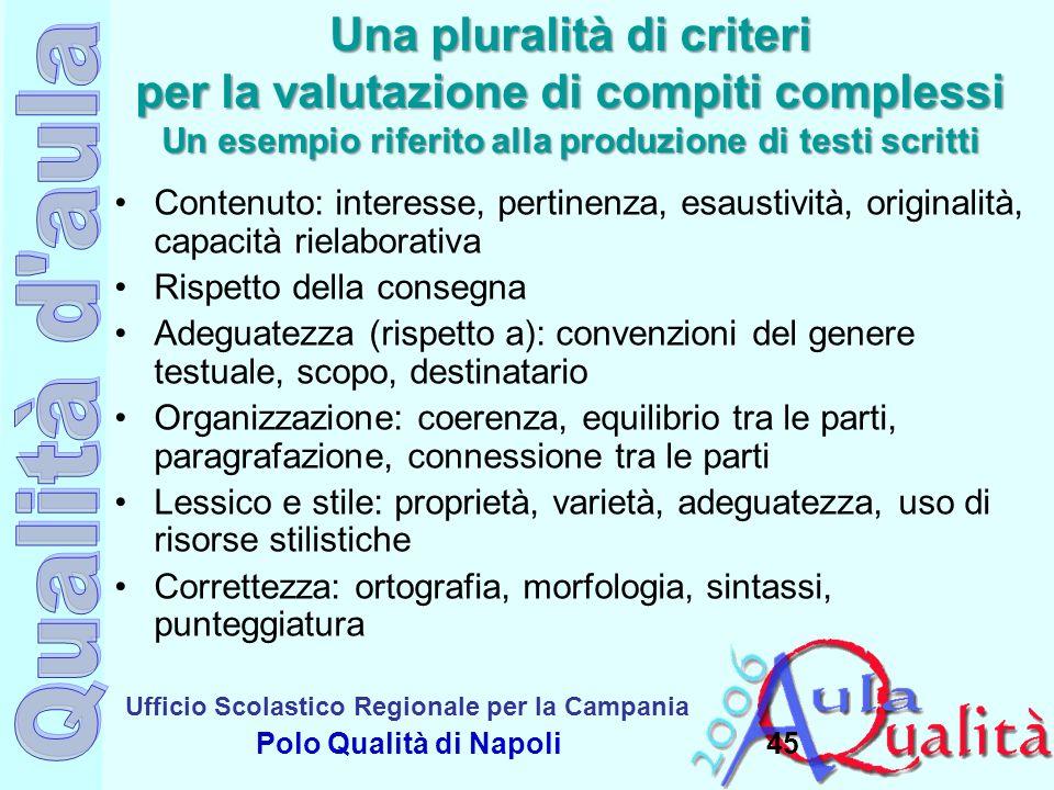 Una pluralità di criteri per la valutazione di compiti complessi Un esempio riferito alla produzione di testi scritti